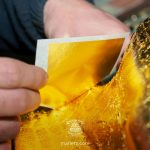 Hoja de oro puro en libro